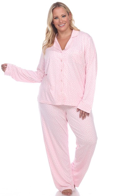Plus Size Long Sleeve Pajama Set - orangeshine.com