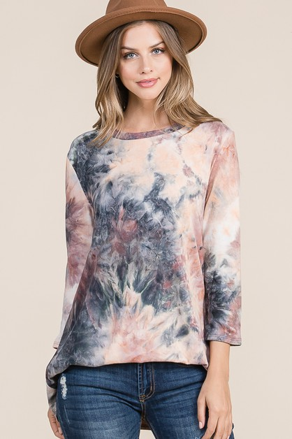 RELAXED FIT TIE-DYE TOP - orangeshine.com