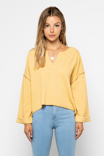 Classic thermal knit top - orangeshine.com