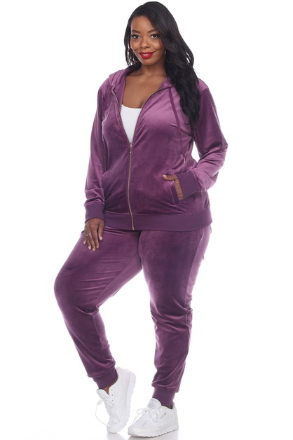 Plus Size 2 Piece Velour Tracksuit  - orangeshine.com