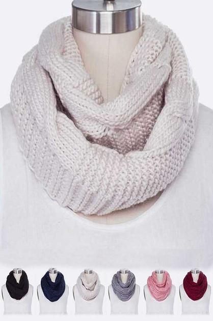 Cable Knit Infinity Winter Scarf Set - orangeshine.com