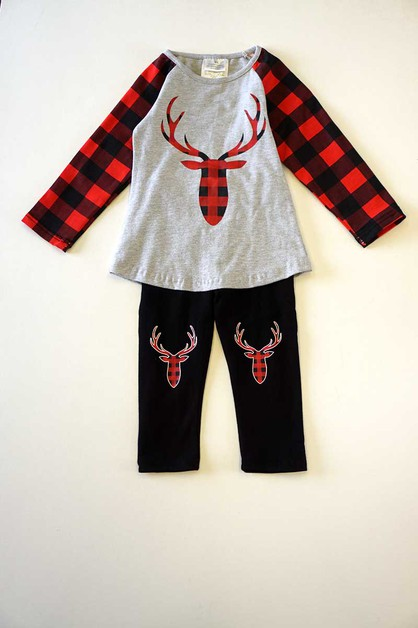 Reindeer red plaid set - orangeshine.com