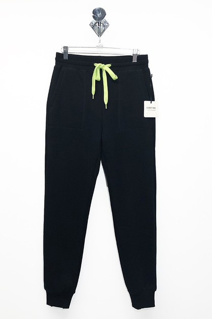 FLEECE CONTRAST STRING JOGGER  - orangeshine.com