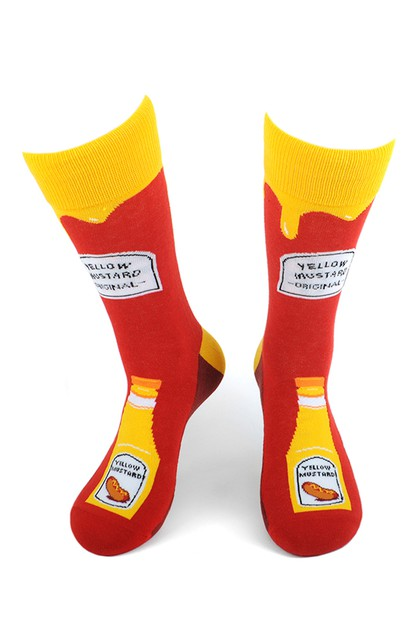 Mens Mustard Bottle Novelty Socks - orangeshine.com