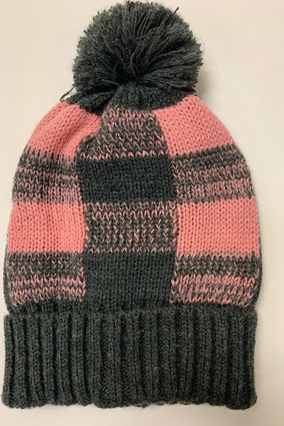 Pink Grey Plaid Pom Pom Beanie - orangeshine.com