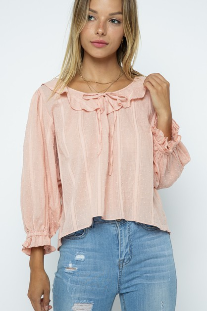 ribbon front Blouse Top - orangeshine.com