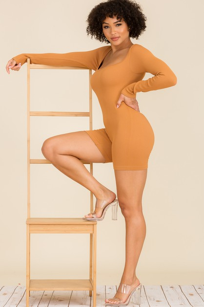 Square Neck Ribbed Long Sleeve Full  - orangeshine.com