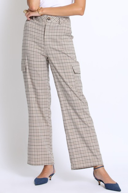PLAID CARGO PANTS - orangeshine.com