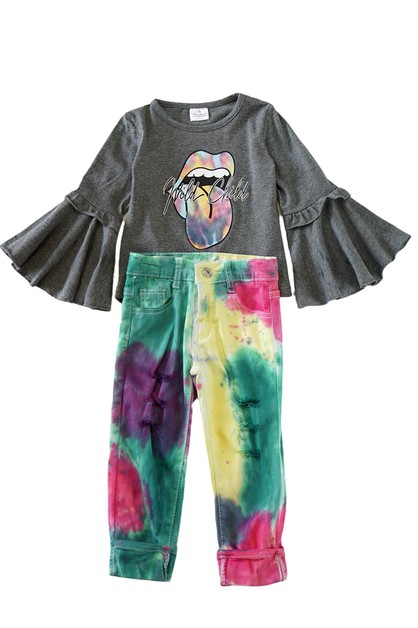 Tongue tie dye bell sleeve set - orangeshine.com
