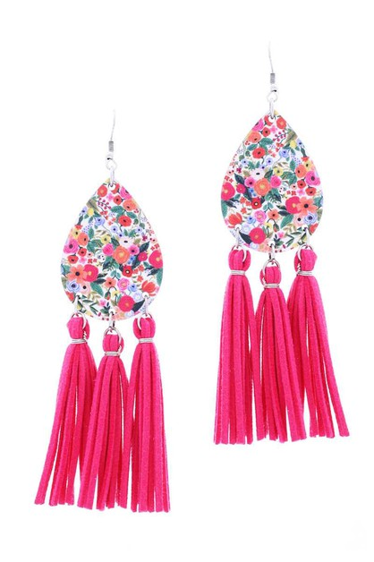 FLOWER TEARDROP WOOD TASSEL HOOK EAR - orangeshine.com