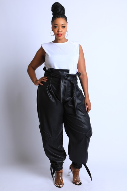 Waist Tie Paper Bag Pants - orangeshine.com