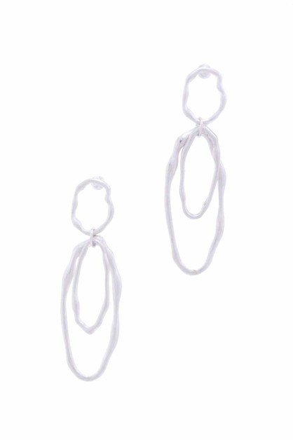 DOUBLE OVAL SHAPE DANGLE POST EARRIN - orangeshine.com