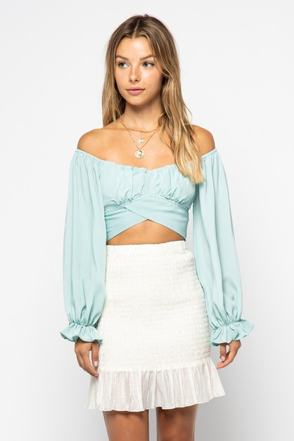 Waist Tie Crop Top - orangeshine.com