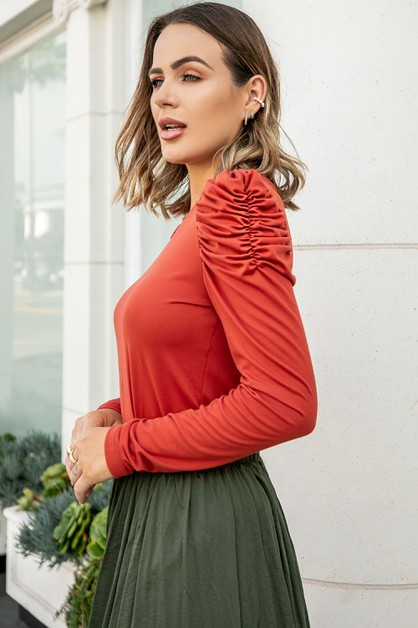 Solid Top Frilled Detailed Sleeves - orangeshine.com