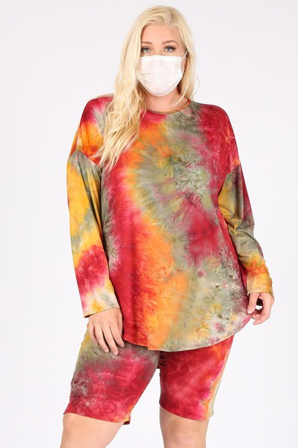 PLUS SIZE TIE DYE PRINT 2 PIECE SETS - orangeshine.com