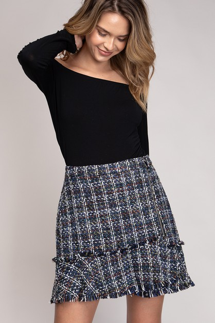 FLARE BOUCLE MINI SKIRT - orangeshine.com