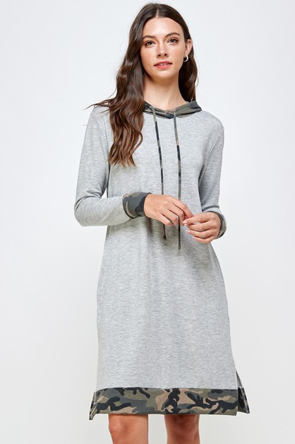 CAMOUFLAGE ACCENT HOODED DRESS - orangeshine.com