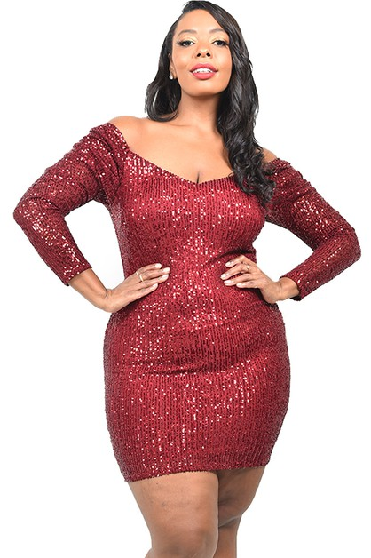 PLUS SEXY SEQUIN MINI DRESS - orangeshine.com