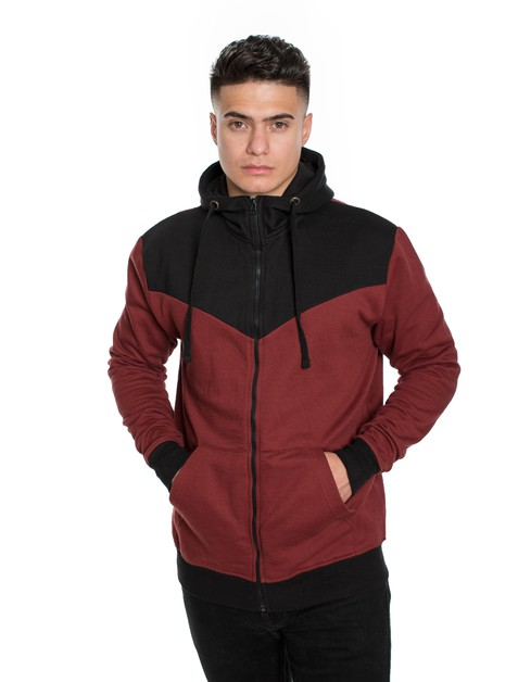 Mens Fleece Color Block Zipper Hood - orangeshine.com