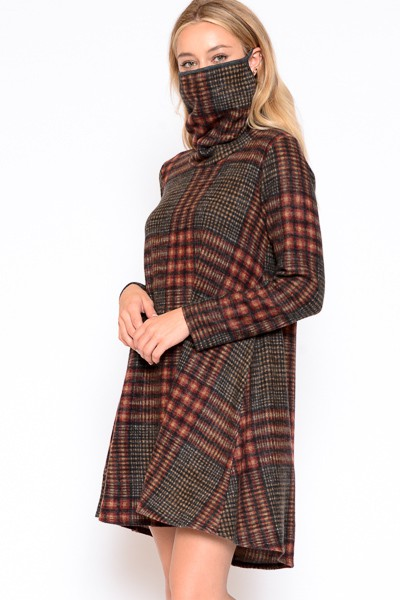Plaid cowl neck mask top  - orangeshine.com