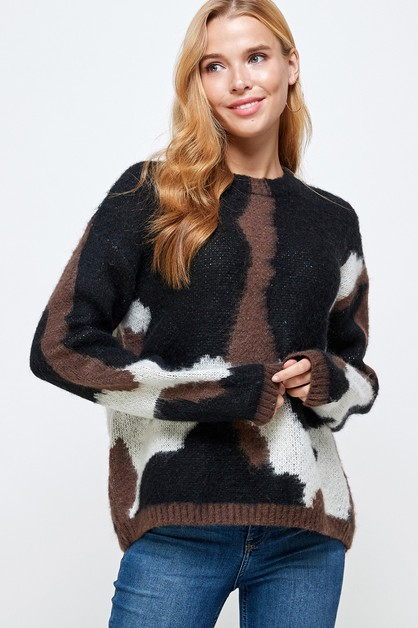 Multi Color Pullover Sweater - orangeshine.com