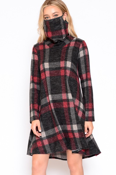 Plaid mask dress - orangeshine.com