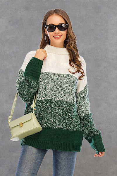 turtle neck Color block sweater - orangeshine.com