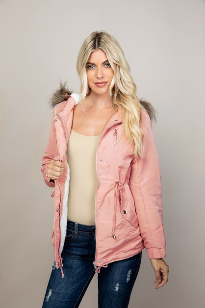 Faux fur Hooded Jacket - orangeshine.com