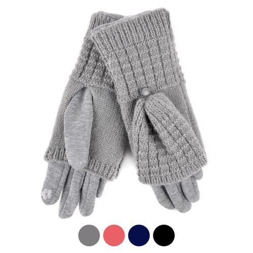 Womens Cable Knit Touch Screen glove - orangeshine.com