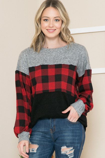 PLAID COLOR BLOCK TUNIC TOP - orangeshine.com
