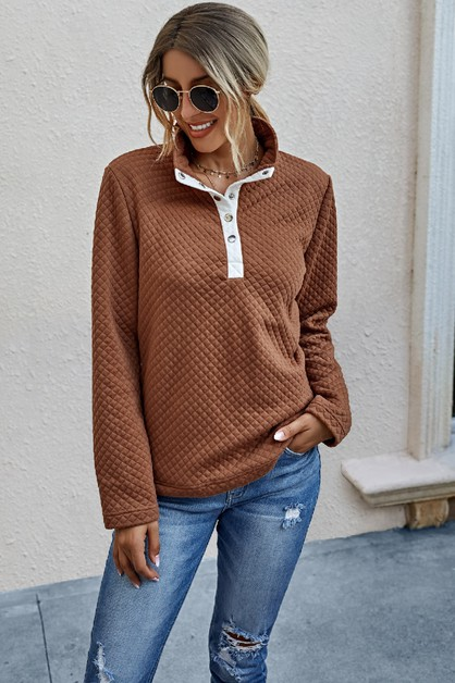 Solid Button Down Loose Sweater - orangeshine.com