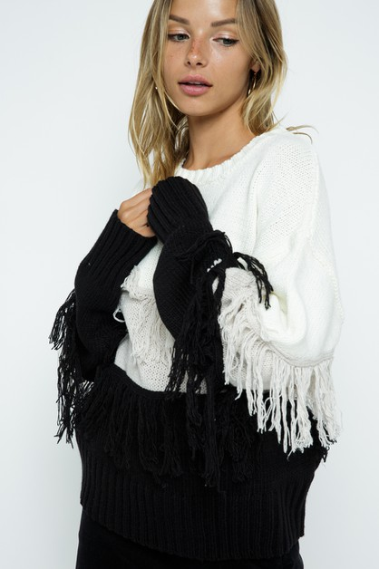 Fringe Knit Sweater - orangeshine.com