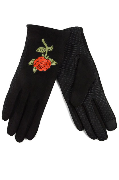 Womens Rose embroidered Gloves - orangeshine.com