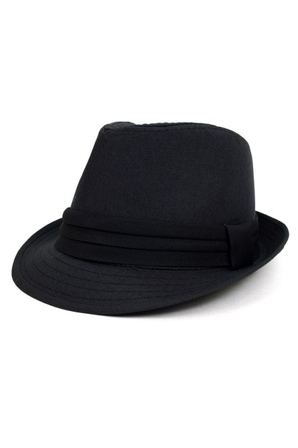Fall Winter Solid Black Trilby Fedor - orangeshine.com