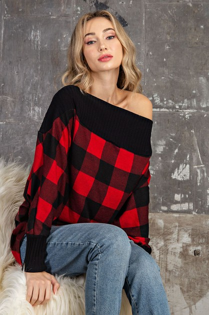 WINTER PLAID OFF THE SOULDER DOLMAN  - orangeshine.com