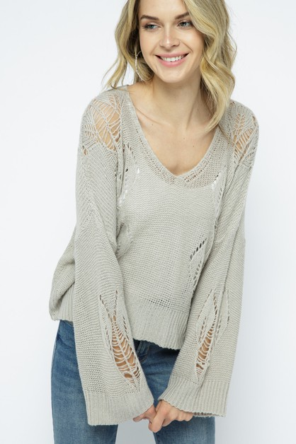 Light Knit Pullover with Heart Detai - orangeshine.com