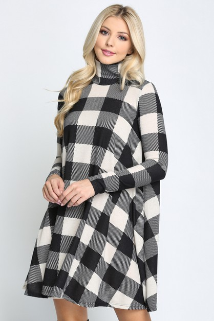 Plaid Long Sleeves Swing Dress - orangeshine.com
