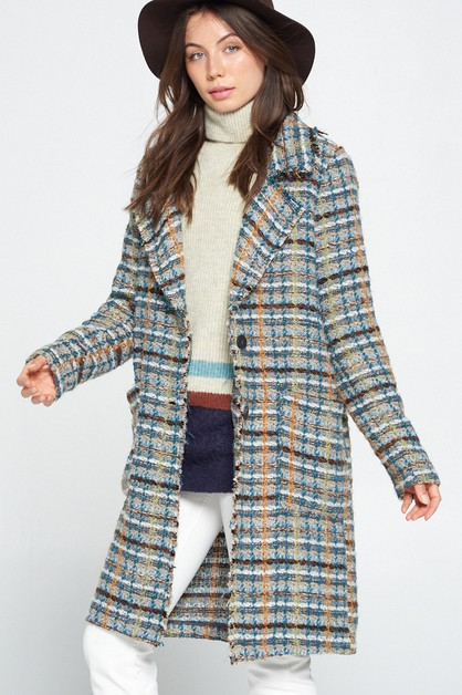BASIC PLAID THICK LONGLINE JACKET CO - orangeshine.com