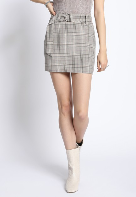 BELTED PLAID MINI SKIRT - orangeshine.com
