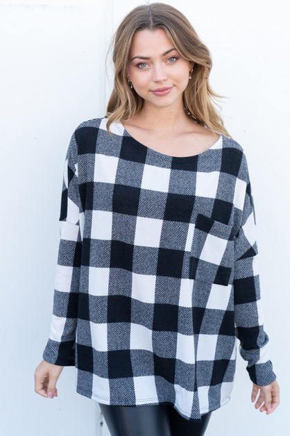 Long Sleeve Buffalo Plaid Top - orangeshine.com