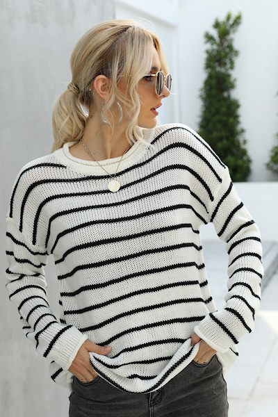 stripe crew neck sweater - orangeshine.com