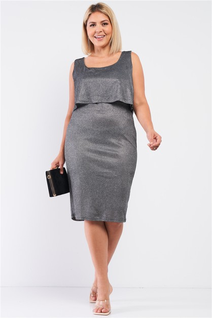 Sky Shimmer Sleeveless Layered Dress - orangeshine.com