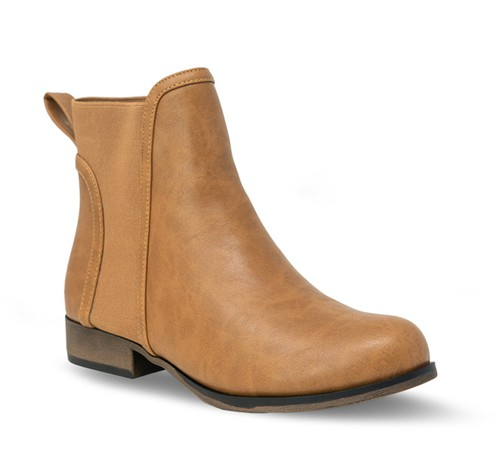 Women Low Chunky Heel Round Toe Booties - orangeshine.com