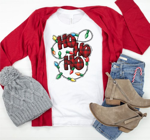 Ho Ho Ho Christmas Lights Crew Neck  - orangeshine.com