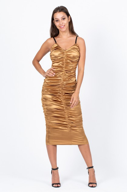 Metallic Ruched Midi Dress - orangeshine.com