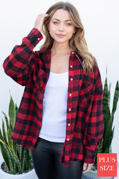 Long Sleeve Plaid Woven Top - orangeshine.com