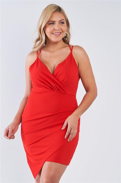 Tie Back Red Wrap Dress - orangeshine.com