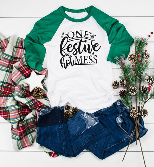 One Festive Hot Mess Baseball Tee - orangeshine.com