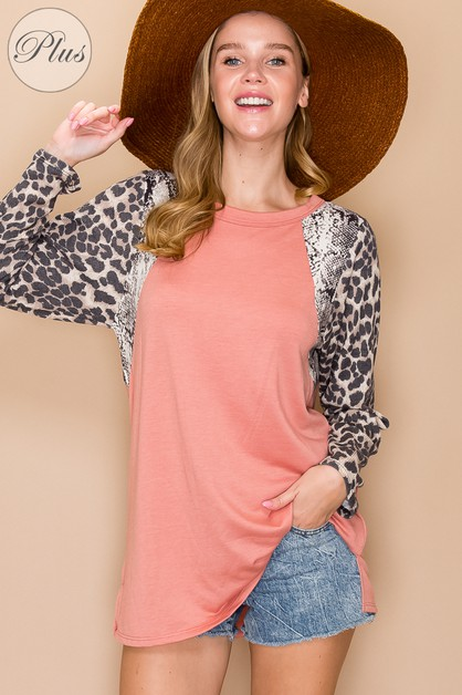 Casual Solid Color W Cheetah Contrast Pr - orangeshine.com