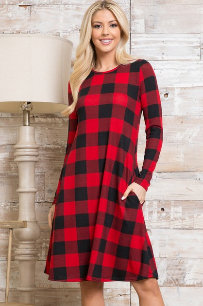 Plaid Long Sleeve Midi Dress - orangeshine.com